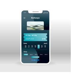 online railways ticket system ui ux gui screen vector image