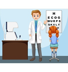 Ophthalmologist working in clinic vector