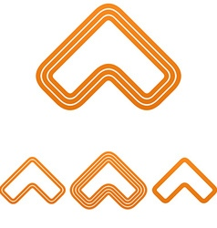 Orange line arrow logo design set vector