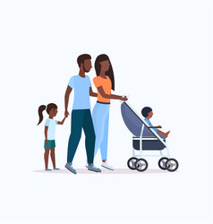 Parents with daughter and toddler son in stroller vector