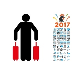 Passenger Luggage Icon with 2017 Year Bonus vector image