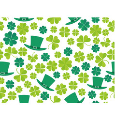 patricks day seamless pattern with green clover vector image