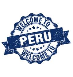 peru round ribbon seal vector image