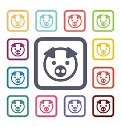 pig flat icons set vector image