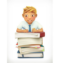 Pupil and school textbooks Little boy cartoon vector