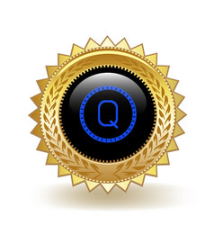 Qash cryptocurrency coin gold badge vector