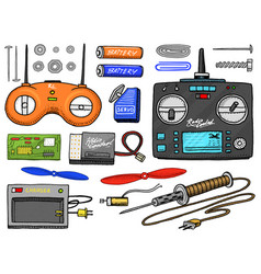 Rc transport and instrument remote control models vector