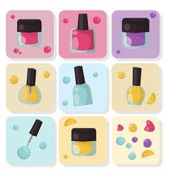 Red nail polish bottle varnish enamel glamour vector