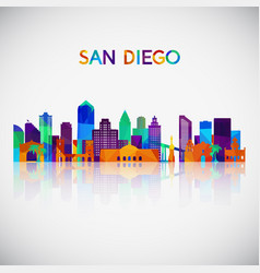San diego skyline silhouette in colorful vector