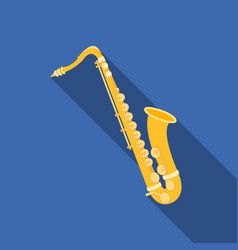 saxophone icon in flat style isolated on white vector image