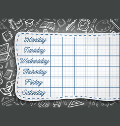 School weekly timetable on chalk chalkboard vector