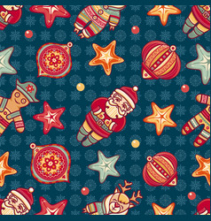 seamless pattern christmas style vector image