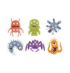 Set evil germs with eyes vector
