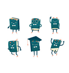 Set funny book characters mascots cartoon vector
