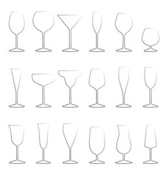 set of glasses outlines vector image