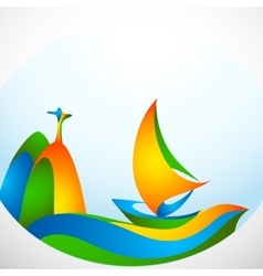 Sign sailing boat with symbol in colors vector