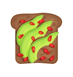 slice of tasty toasted rye bread with avocado and vector image
