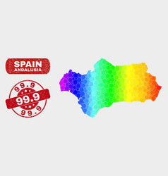 Spectral mosaic andalusia province map and grunge vector