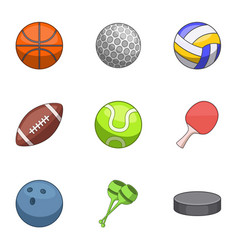 sports shell icons set cartoon style vector image