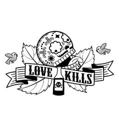 Stiker love kills vector image