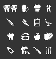 stomatology dental icons set grey vector image