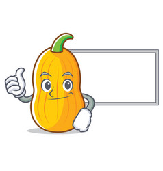 Thumbs up with board butternut squash character vector