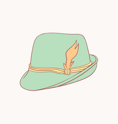 Tyrolean hat hand drawn style doodle design vector
