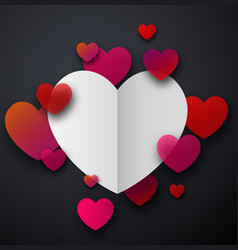 valentine s paper card with hearts vector image