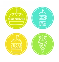 Vegan food badges Burgers pizza sandwich vector image