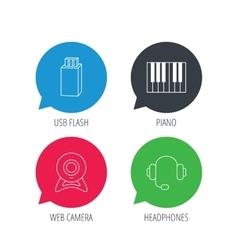 Web camera headphones and Usb flash icons vector