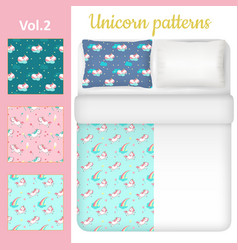 white blank and unicorn bed linen set vector image