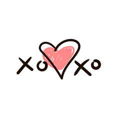 xoxo icon or logo with heart vector image
