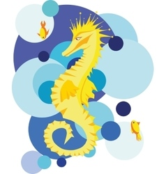 Yellow seahorse in stylized sea vector
