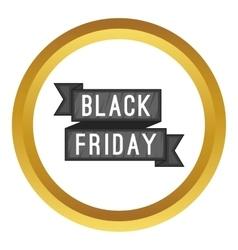 Black Friday sale ribbon icon vector image vector image