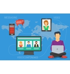Concept of internet communication around a world vector