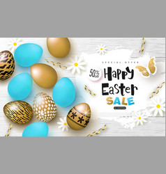 Happy easter sale bannerbackground with beautiful vector