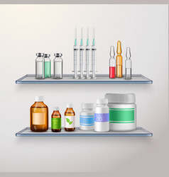 healthcare product shelves composition vector image vector image