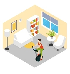 Living room fitness composition vector