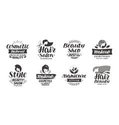 Beauty salon logo set of icons Beautiful labels vector image vector image
