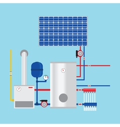 Gas boiler and solar panels Eco-house vector image vector image