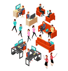 isometric business office people networking vector image vector image