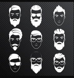 set of bearded hipster men faces on the vector image