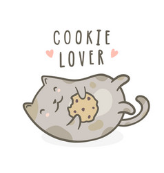 cute kitty with cookie vector image vector image