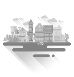 Flat houses trendy set of buildings icons isolated vector image vector image