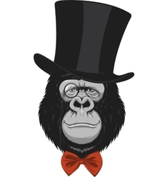 Funny monkey in a hat vector image vector image