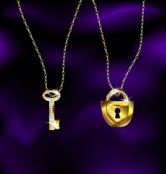 jewel lock and key vector image vector image