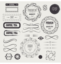 logo vintage and frames design elements vector image