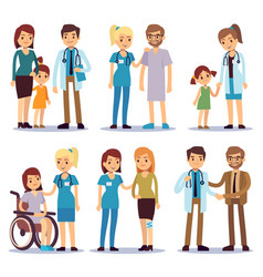 medical staff with patients nurses and doctors vector image vector image
