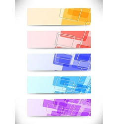 Bright colorful tiles fly banners set vector image