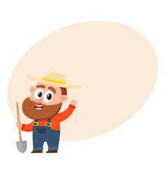 funny farmer gardener character holding shovel vector image vector image